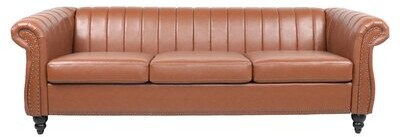 """Thumbnail for your product : Alcott Hill Mccrea 84"""" Faux Leather Rolled Arm Chesterfield Sofa"""