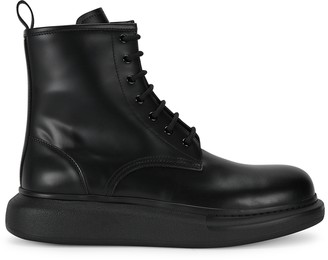 Alexander McQueen Larry black leather ankle boots