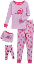 Lilac Dinosaur Pajama Set & Doll Outfit - Girls