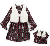 Dollie & Me Ivory & Burgundy Floral Dress Set & Doll Outfit - Girls