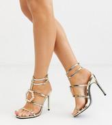 Asos Design DESIGN Wide Fit Weston embellished heeled sandals in gold