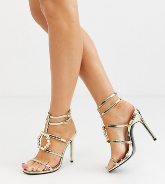 Asos DESIGN Wide Fit Weston embellished heeled sandals in gold