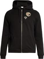 Saint Laurent Patch-detail hooded cotton sweatshirt
