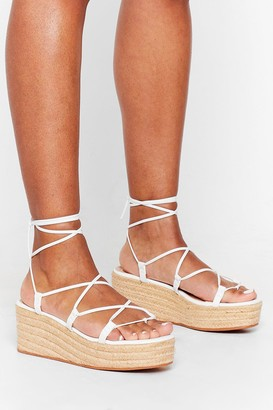 Nasty Gal Womens Get Lace-Up Woven Platform Sandals - White