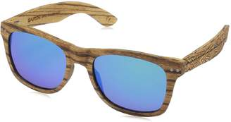 Earth Wood Earthwood Unisex-Adult Cape Cod Wood Sunglasses ESG060Z Polarized Wayfarer Sunglasses Zebra Walnut//Bluegreen 52 mm