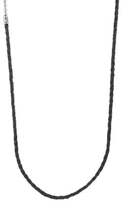 Title of Work Men's Leather Cord & Ball Chain Necklace - Silver
