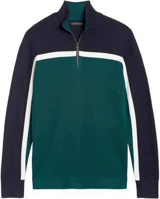 Banana Republic Color-Block Half-Zip Sweater