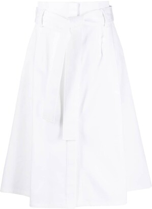 P.A.R.O.S.H. belted high-waisted A-line skirt
