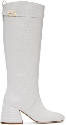 Fendi White Croc Promenade Tall Boots