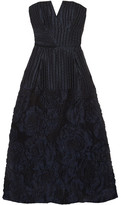 Roland Mouret Aldrich Strapless Linen-blend Cloqué Midi Dress - Navy