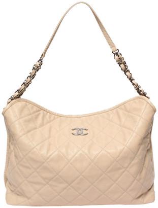 Chanel Beige Caviar Leather Soft Shoulder Bag