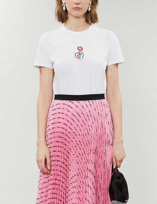 Miu Miu Flower-embroidered cotton-jersey T-shirt