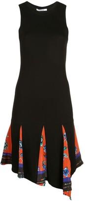 Derek Lam 10 Crosby Asymmetrical Hem Matt Jersey Tank Dress With Printed Godet Insert