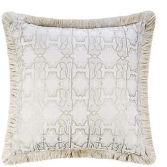 Roberto Cavalli Araldico Velvet Cushion - 43x43cm - Ivory/Platinum