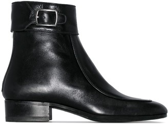 Saint Laurent Black Miles square toe ankle boot