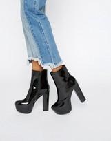 Daisy Street Black Patent Mega Platform Ankle Boots