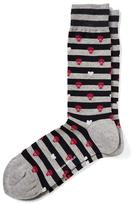 Banana Republic Skull and Heart Print Striped Sock