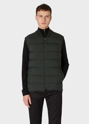 Paul Smith Men's Dark Green Down-Filled Gilet With Knitted Back