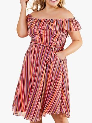Yumi Curves Bardot Tie Belt Rainbow Stripe Midi Dress
