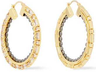 Noir Gold And Gunmetal-tone Crystal Hoop Earrings