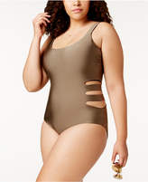 Becca Etc Plus Size Reversible One-Piece Swimsuit Women's Swimsuit