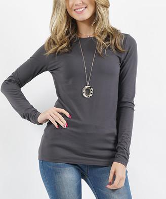 Ash Lydiane Women's Tee Shirts  Gray Crewneck Long-Sleeve Top - Women & Plus