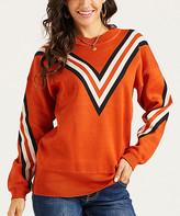 Suzanne Betro Weekend Women's Pullover Sweaters 101RUST - Rust & Ivory Chevron Jacquard Sweater - Women & Plus