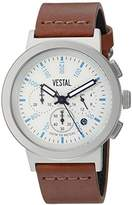 Vestal 'Retrofocus Chrono' Quartz Stainless Steel and Leather Dress Watch, Color:Brown (Model: SLRCL004)