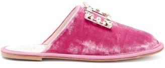 Roger Vivier Hotel Vivier Crystal-buckle Velvet Slippers - Pink