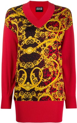 Versace Knitted Baroque Print Jumper