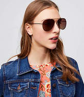 LOFT Double Bridge Aviator Sunglasses