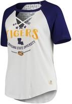 Unbranded Women's Pressbox White/Purple LSU Tigers Plus Size Abbie Criss-Cross Raglan Choker T-Shirt