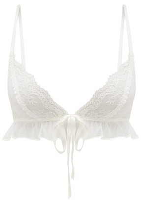 Myla Elm Row Front-tie Ruffled Lace Bra - Womens - White