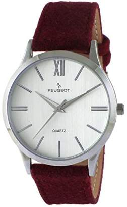 Peugeot Women Contemporary Silver Slim Case Casual Wrist Watch w/Matching Canvas Wool Strap