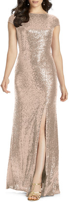 Dessy Collection Sequin Cap-Sleeve Cowl-Back Column Gown w/ Slit