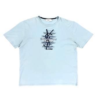 Saint Laurent Blue Cotton T-shirts
