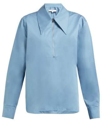 Tibi Point Collar Cotton Sateen Top - Womens - Blue