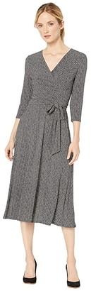 Lauren Ralph Lauren Herringbone Jersey Surplice Dress (Sparkling Champagne/Black) Women's Dress