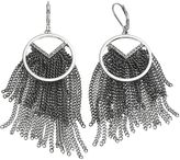 Simply Vera Vera Wang Two Tone Fringe Chevron Hoop Drop Earrings
