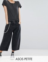 Asos Crop Cargo Jeans in Extreme Black Acid Wash with Pocket Chain