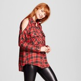 Alison Andrews Women's Plaid Cold Shoulder Zipper Shirt Red