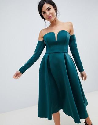 Asos Design DESIGN long sleeve u bar midi prom dress-Green