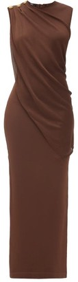 Balmain Side-button Draped Jersey Dress - Brown