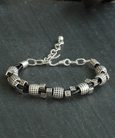 Nautilus Leather & Silvertone Greek Key Bracelet