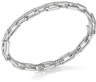 David Yurman Stax Small Sterling Silver & Diamond Chain Link Bracelet