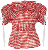 Rosie Assoulin Iris Off-the-shoulder Ruffled Gingham Seersucker Top - Red