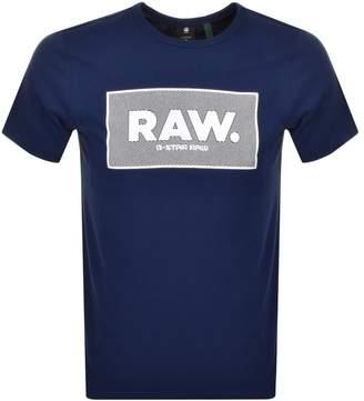 G Star Raw Box Logo Regular Fit T Shirt Navy