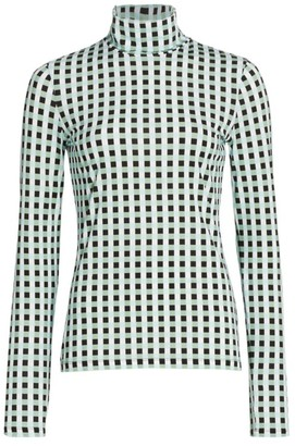 Proenza Schouler White Label Jersey Gingham Turtleneck Top