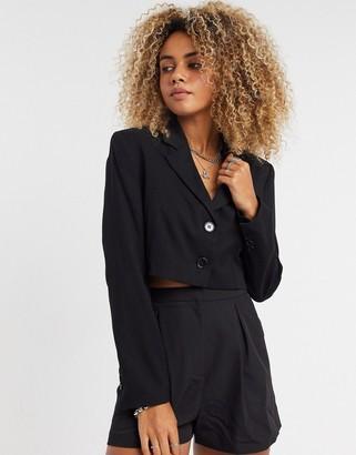 Bershka cropped blazer in black