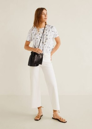 MANGO Printed cotton-blend T-shirt medium heather grey - XS - Women